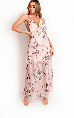 View the Flossy Backless Floral Maxi Dress online at iKrush
