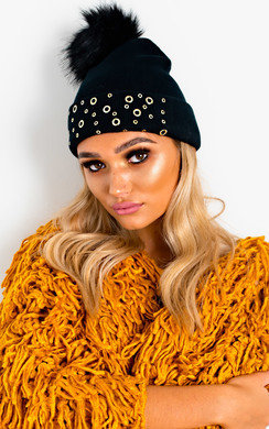 View the Fran Eyelet Embellished Pom Pom Hat online at iKrush