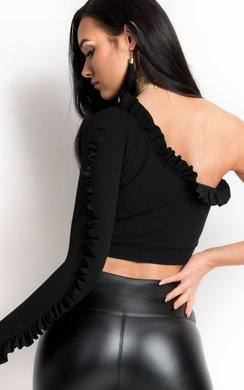 View the Fran One Shoulder Frill Crop Top  online at iKrush