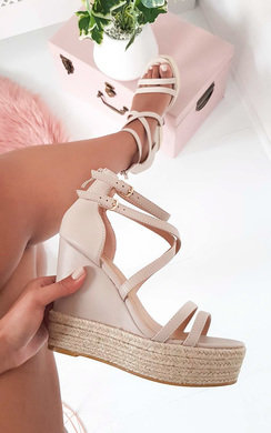 View the Frankie Crossover Strap Wedged Heels  online at iKrush