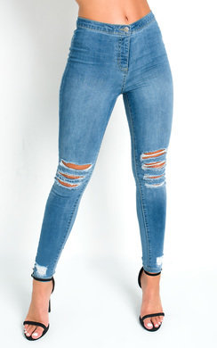 View the Frankie Ripped Stretch Skinny Jeans online at iKrush