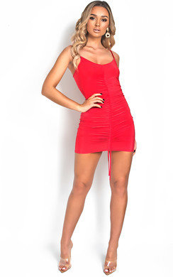 View the Frankie Slinky Ruched Mini Dress online at iKrush