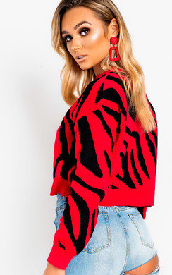 View the Fraya Knitted Zebra Print Jumper  online at iKrush