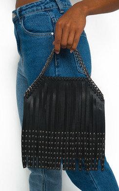 View the Freja Fringe Studded Shoulder Bag online at iKrush