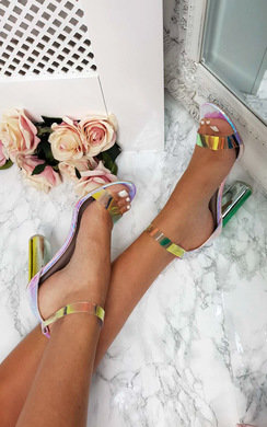 View the Freja Iridescent Barely There Block Heels online at iKrush