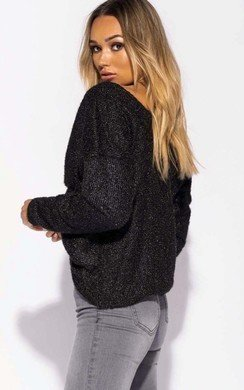 View the Freya Metallic Knitted Crossover Jumper online at iKrush