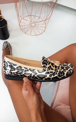 View the Freya Tasseled Leopard Print Pumps online at iKrush