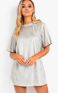 View the Frida Glitter Oversized T-shirt Dress online at iKrush