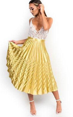 View the Gabbana Metallic Pleated Midi Skirt online at iKrush