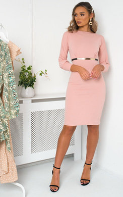 View the Gabby Belted Fitted Midi Dress online at iKrush