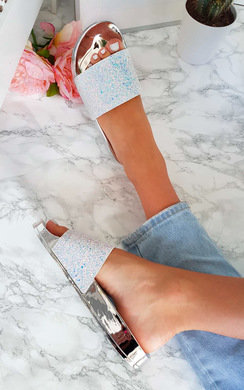 View the Gabi Iridescent Glitter Sliders online at iKrush
