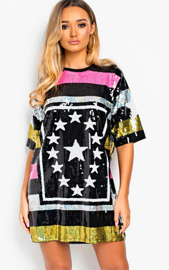 View the Gaga Sequin Oversized T-Shirt Dress online at iKrush