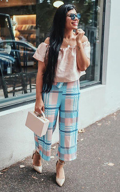 View the Genie Highwaisted Checked Trousers online at iKrush