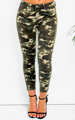 View the Geo Skinny Camouflage High-Rise Jeans online at iKrush