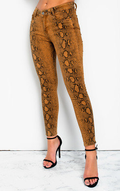 View the Geo Skinny Snake Skin High-Rise Jeans online at iKrush