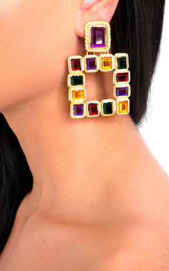 View the Geo Square Drop Earrings  online at iKrush