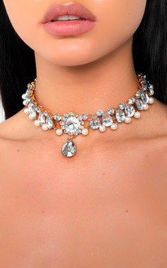 View the Gerri Diamante Pearl Choker Necklace online at iKrush