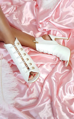 View the Gia Looped Corset Peep Toe Heels online at iKrush