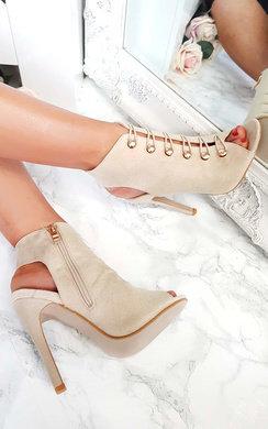 View the Gia Looped Corset Peep Toe Heels online at iKrush