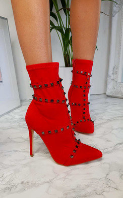 View the Gia Studded Lycra Heeled Boots online at iKrush
