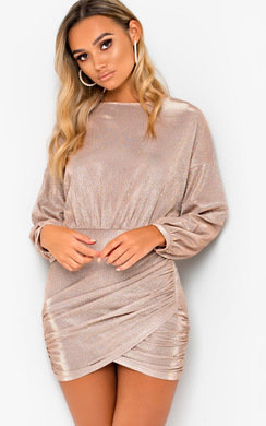 View the Giana Gathered Glitter Bodycon Dress online at iKrush