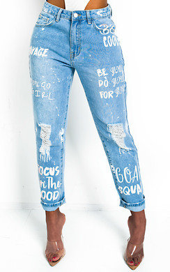View the Gigi Graffiti Distressed Jeans  online at iKrush