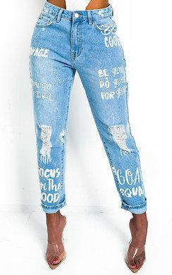 View the Gigi Graffiti Distressed Jeans  online at iKrush