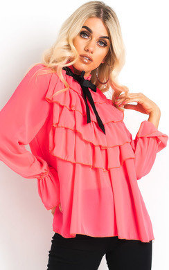 View the Gigi Tie Frill Cropped Blouse online at iKrush