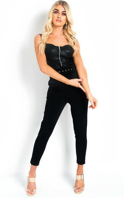 View the Gill High Waist Belted Slim Leg Trousers online at iKrush