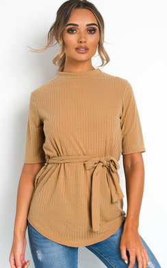 View the Gillian Tie Waist High Neck Top online at iKrush