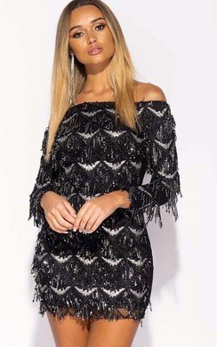 View the Gillie Off Shoulder Sequin Mini Dress online at iKrush