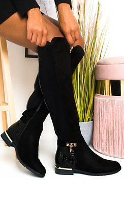 View the Laney Faux Suede Knee High Buckle Boots online at iKrush
