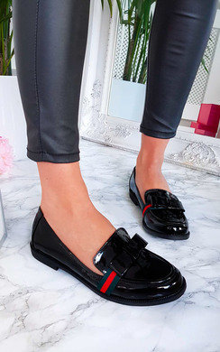 View the Gina Stripe Bow Flat Pumps online at iKrush