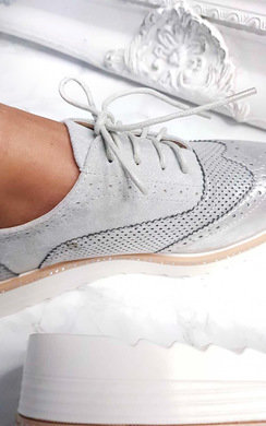 View the Gisele Faux Suede Wedged Brogue Trainer online at iKrush