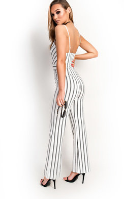 View the Hallie Stripe Tie Waist Wide Leg Jumpsuit online at iKrush