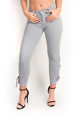 View the Hanna Ribbon Tie Up Skinny Jeans online at iKrush