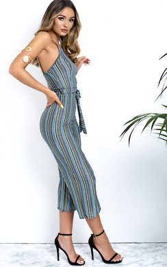 View the Harli Glitter Stripe Tie Waist Wide Leg Jumpsuit online at iKrush