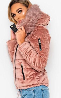 View the Harlie Padded Velvet Hooded Jacket online at iKrush