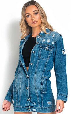 View the Harlow Distressed Long-lined Denim Jacket online at iKrush
