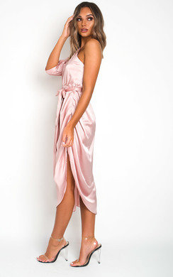 View the Harlow Satin One Shoulder Midi Dress  online at iKrush