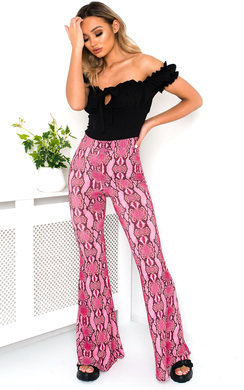 View the Harlow Wide Leg Snake Print Trousers  online at iKrush
