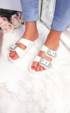 View the Harper Double Buckle Studded Sliders online at iKrush