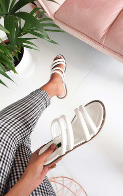 View the Harper Strappy Faux Leather Sandals online at iKrush