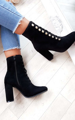 View the Harri Faux Suede Corset Heeled Boots online at iKrush