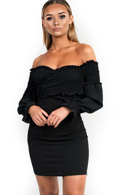 View the Harri Ruched Off Shoulder Bodycon Dress online at iKrush