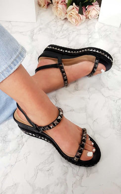 View the Harri Studded Strap Wedge Sandals online at iKrush