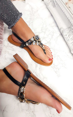 View the Haven Jewel Embellished T-Bar Sandals online at iKrush