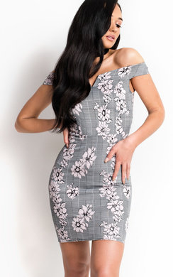View the Hayden Checked Off Shoulder Bodycon Dress online at iKrush