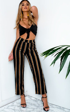 View the Hayden Striped Wide Leg Trousers online at iKrush