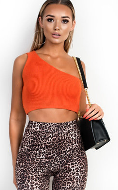 View the Hayley One Shoulder Knitted Crop Top online at iKrush